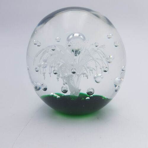 Vintage Decorative Glass Paperweight - Mid 20th Century White Floral Design | Image 3