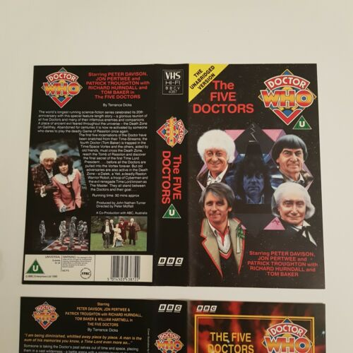 Classic Doctor Who THE FIVE DOCTORS (1983) BBC VHS Video Covers ONLY 2 Versions | Image 2