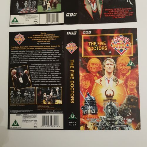Classic Doctor Who THE FIVE DOCTORS (1983) BBC VHS Video Covers ONLY 2 Versions | Image 3