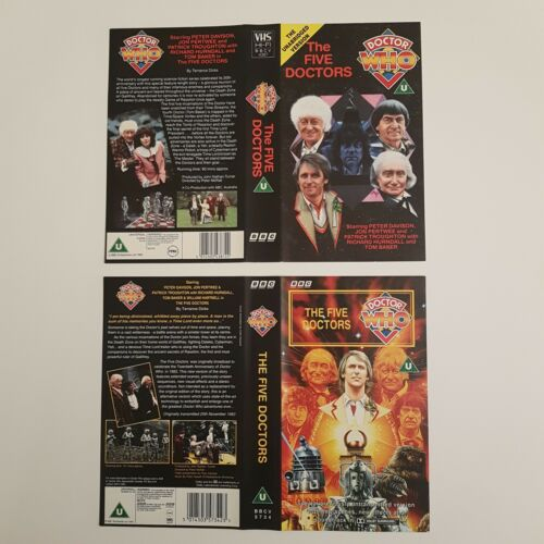 Classic Doctor Who THE FIVE DOCTORS (1983) BBC VHS Video Covers ONLY 2 Versions | Image 1