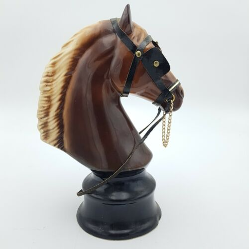 Vintage  KILNESTONE Pottery 25cm Tall Brown Horse Bust on Base Plinth | Image 4