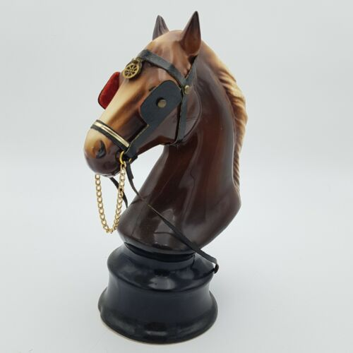 Vintage  KILNESTONE Pottery 25cm Tall Brown Horse Bust on Base Plinth | Image 1
