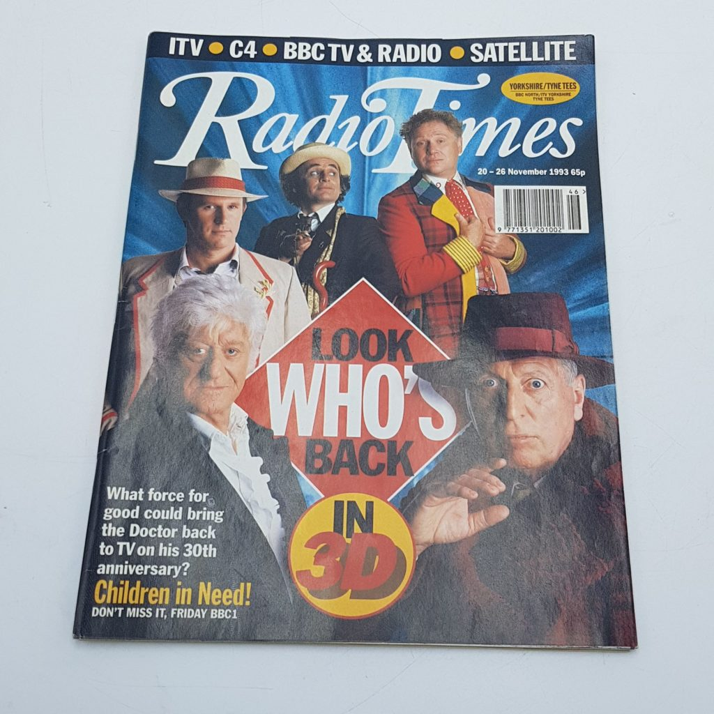 RADIO TIMES 20th - 26th November 1993 DOCTOR WHO 30th Anniversary Cover - NM | Image 1