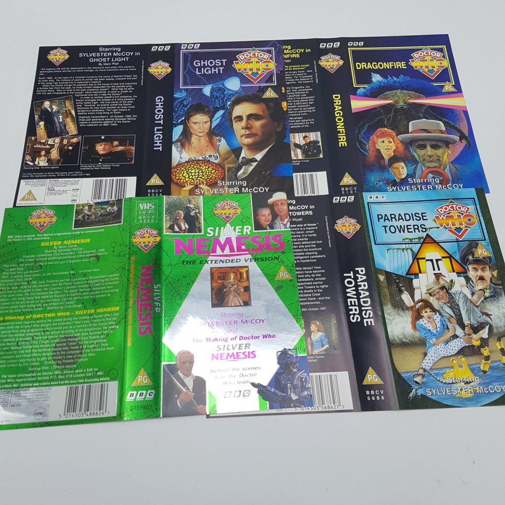 4x Sylvester McCoy Doctor Who UK BBC Video VHS Inlay Cards 7th Doctor | Image 1