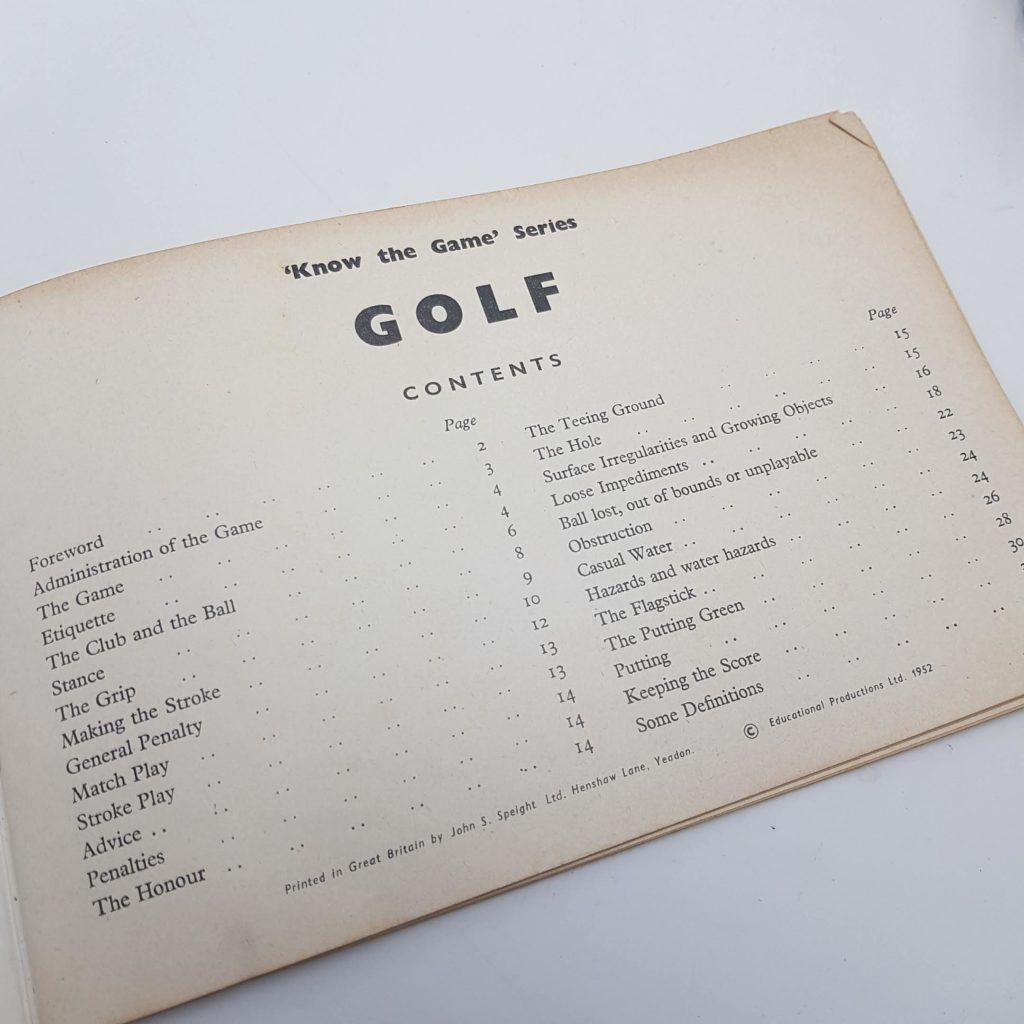 Know the Game Series GOLF (6th Ed. 1960) Educational Productions Ltd. Softback   Image 4