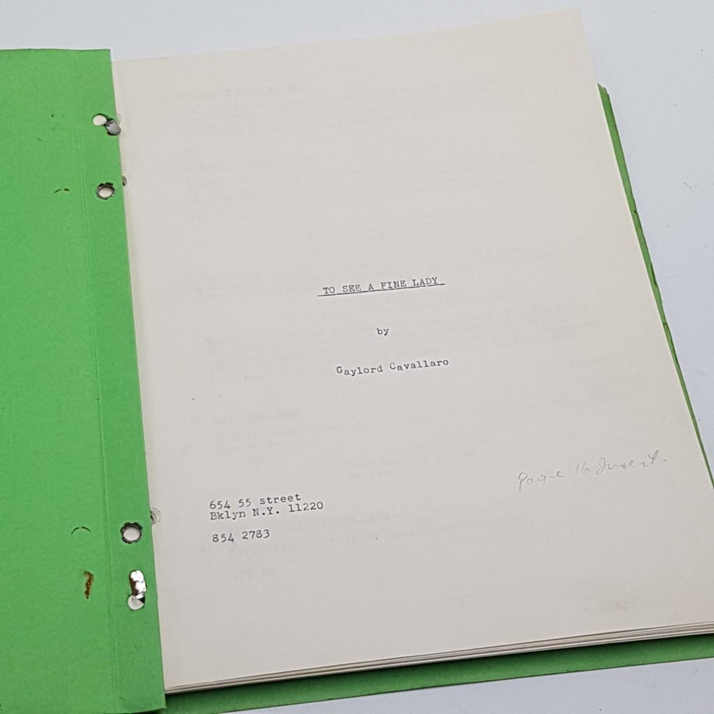 TO SEE A FINE LADY Gaylord Cavallaro 1960's Original Script Screenplay | Image 1