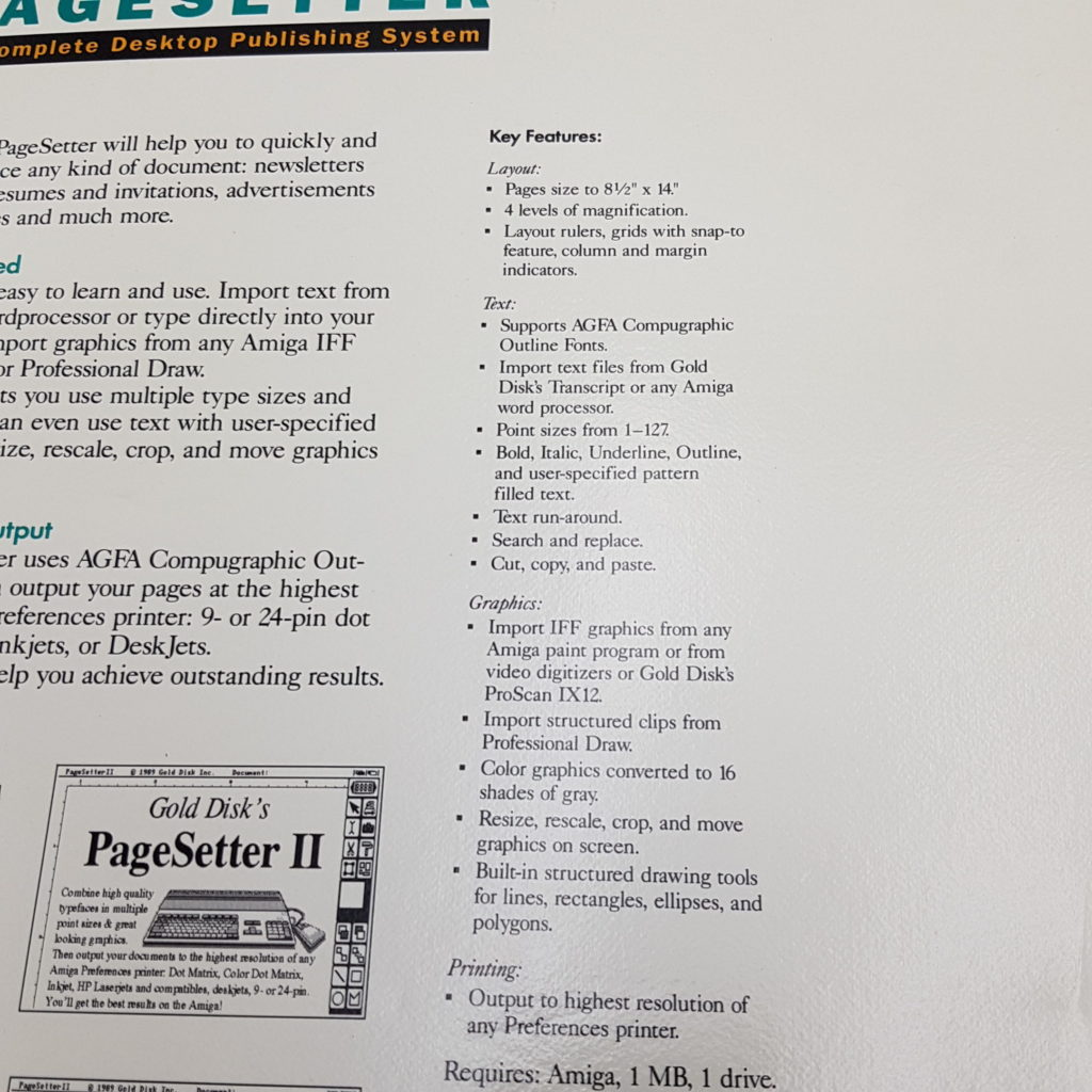 PAGESETTER Desktop Publishing System (1989) Commodore Amiga GOLD DISK | Image 7
