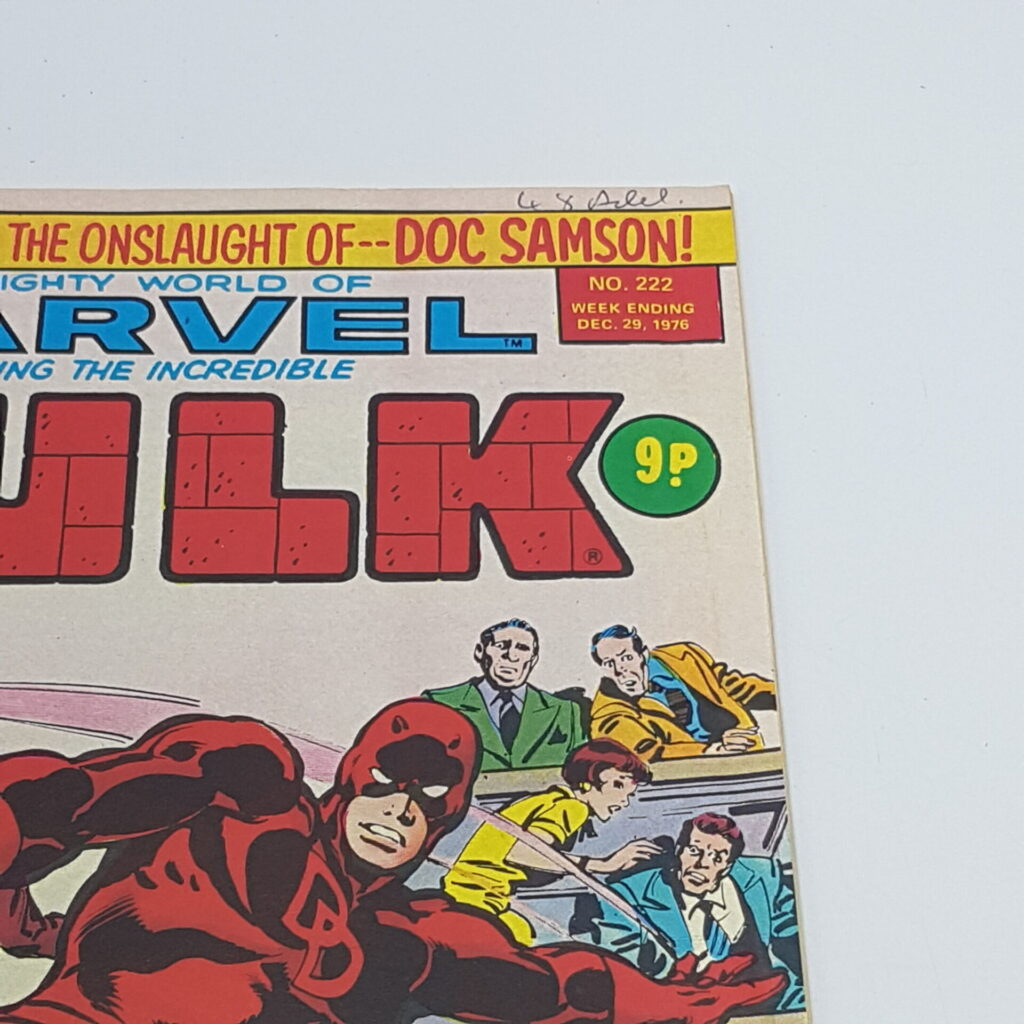 UK Mighty World Of Marvel INCREDIBLE HULK Comic #222 Dec. 1976 [VG+] | Image 2