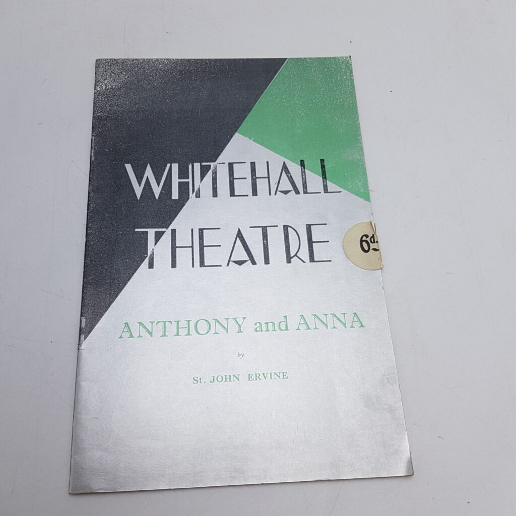 ANTHONY AND ANNA (1937) Whitehall Theatre Programme [VG+] Lucille Lisle | Image 1